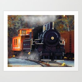 The Rail Yard  -  Steam Train Art Print
