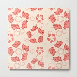 Poppy Pattern Collection - Cream Background & Pink Flowers Metal Print