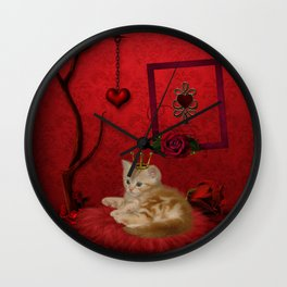Cute little kitten with crown Wall Clock