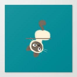 Funny Siamese Kitten upside down Canvas Print
