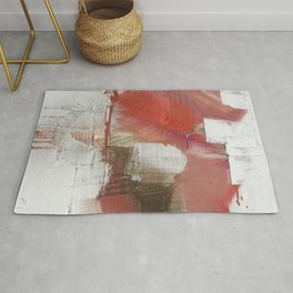 The Little Things: a minimal, abstract piece in reds and gold by Alyssa Hamilton Art Rug