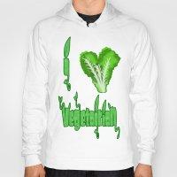 vegetarian Hoodies featuring i love vegetarian by Adiel Azrai