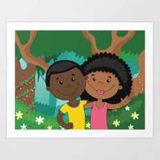 Love in the woods Art Print