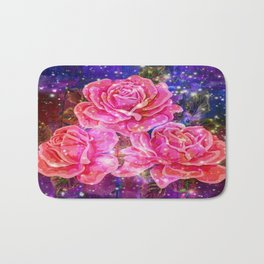 Roses with sparkles and purple infusion Bath Mat