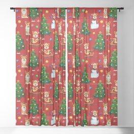 Merry Corgmess- Corgi Celebrate Christmas- Xmas Red Sheer Curtain