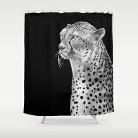 cheetah Shower Curtains featuring Cheetah by Tim Jeffs Art