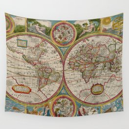 Vintage Map of The World (1662) Wall Tapestry