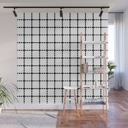 Dotted Grid Black on White Wall Mural