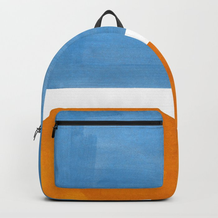 Rothko Minimalist Abstract Mid Century Color Black Square Periwinkle Yellow Ochre Backpack