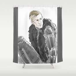 furs, mohawk & red eyes Shower Curtain