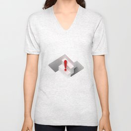 an optical illusion artwork of a stair steps that can go up or down Unisex V-Neck