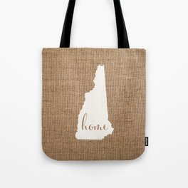 New Hampshire is Home - White on Burlap Tote Bag