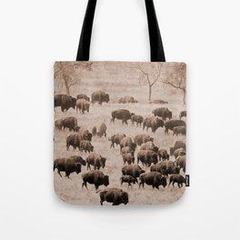Buffalo Herd in Sepia Tote Bag