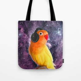Bird Listening to Music in Outer Space Tote Bag