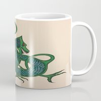 celtic Mugs featuring Celtic Dragon by Erin Malbuisson-Delaney