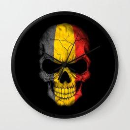 Dark Skull with Flag of Belgium Wall Clock