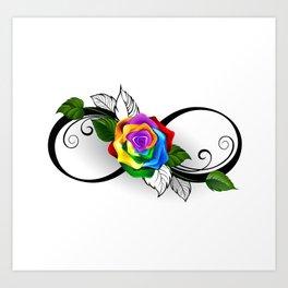 Infinity Symbol with Rainbow Rose Art Print