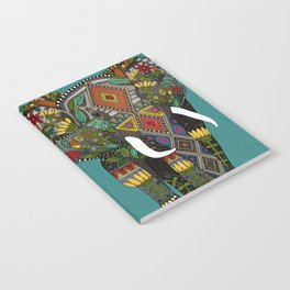 floral elephant teal Notebook