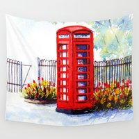 telephone Wall Tapestries featuring Watercolour 'Red Telephone Box' by Madebydebbie