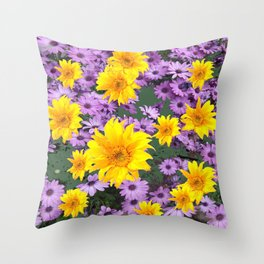 LILAC PURPLE  FLORAL ABSTRACT YELLOW FLOWERS ART Throw Pillow