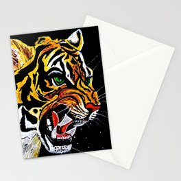 Tiger Stalking Prey Oil Painting Stationery Cards