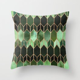 Stained Glass 5 - Forest Green Throw Pillow