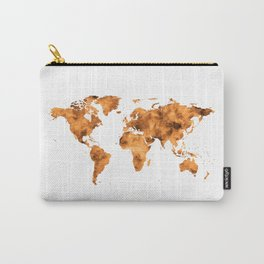 World Map in Orange Desert Sand Carry-All Pouch
