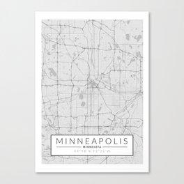 Minneapolis Map - Black and White (Light) Canvas Print
