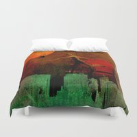 takmaj Duvet Covers featuring Jump on the green city by Ganech joe