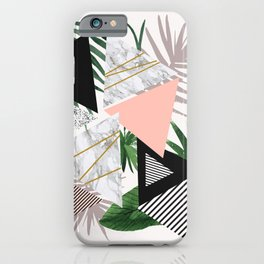 Abstract of geometric patterns with plants and marble iPhone Case