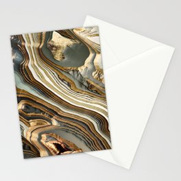 White Gold Agate Abstract Stationery Cards