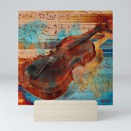 Violin Art Collage - mixed media Mini Art Print