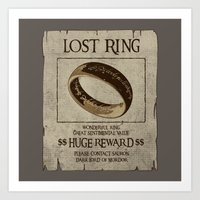 lord of the ring Art Prints featuring Lost Ring by le.duc