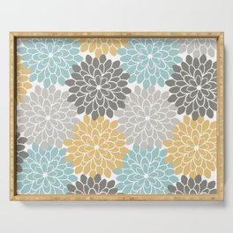 Floral Petals in Blue, Grey and Yellow Serving Tray