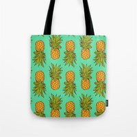pineapples Tote Bags featuring Pineapples by Stephanie Keir
