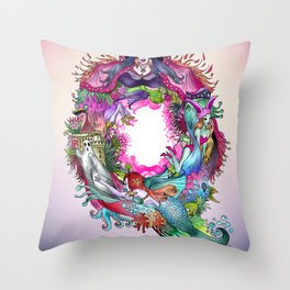 Q - blue pink Throw Pillow