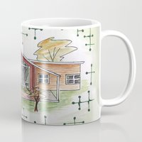 mid century modern Mugs featuring Home Sweet Mid-Century Home by A Different Place and Time