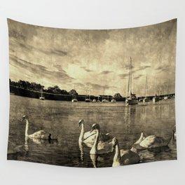 Serene Swans Vintage Wall Tapestry
