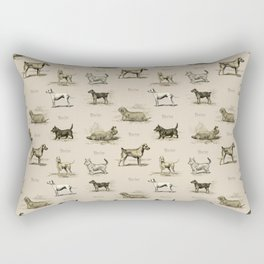 TERRIERS Dog pattern on the beige background Rectangular Pillow