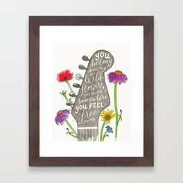You belong among the wildflowers. Tom Petty quote. Watercolor guitar illustration. Hand lettering. Framed Art Print