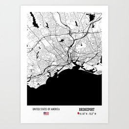 BRIDGEPORT, USA Road Map Art - Earth Tones Art Print