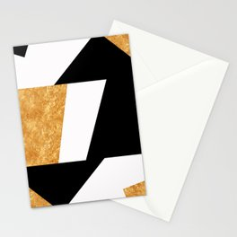 Corners in Black White Gold Stationery Cards