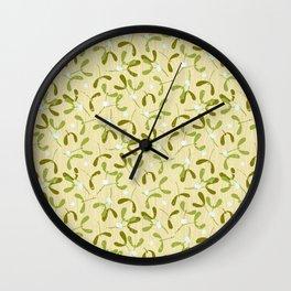 Rustic Mistletoe - Cream Wall Clock