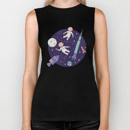 Lunar Spacewalk - Purple + Coral Biker Tank