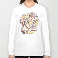 otters Long Sleeve T-shirts featuring Adorable Otter Swirl by KiraKiraDoodles