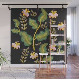 Tropical flowers and banana leaves // Green Pink Yellow Black Palette Wall Mural