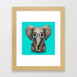 Cute Baby Elephant Calf with Reading Glasses on Blue Framed Art Print