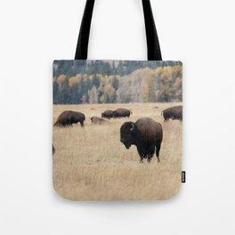 Grand Teton Bison Photography Print Tote Bag