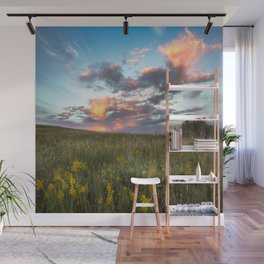 Prairie Fire - Fiery Sky at Sunset in Oklahoma Wall Mural