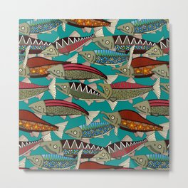 Alaskan salmon teal Metal Print